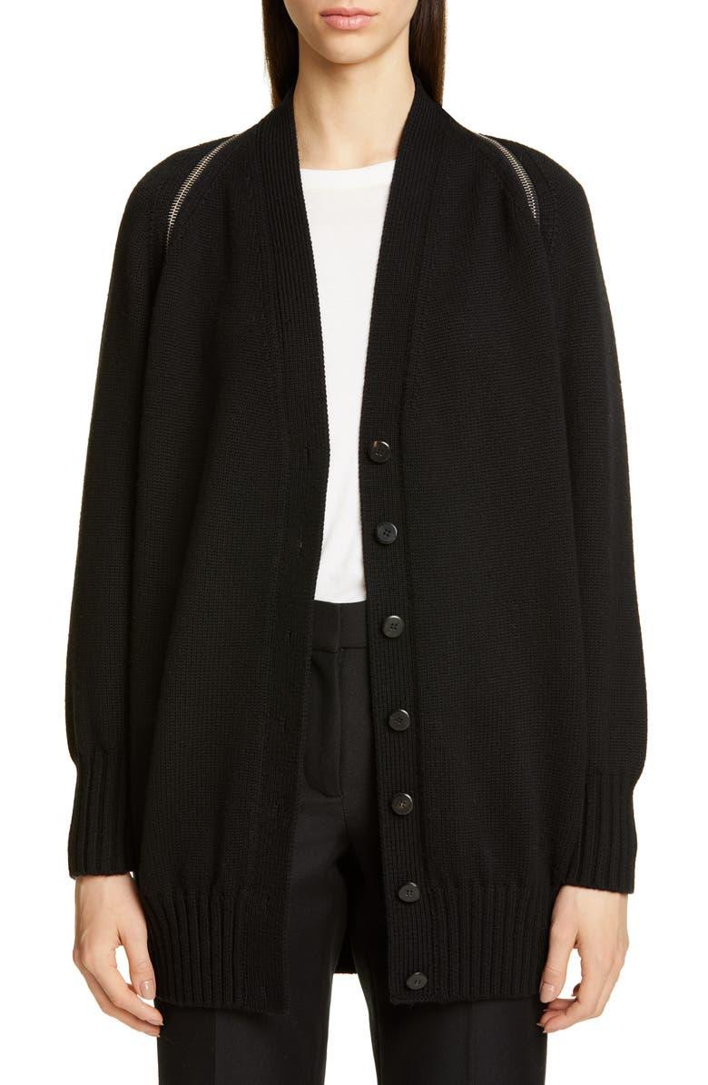 ALEXANDER WANG Zip Shoulder Merino Wool Cardigan, Main, color, BLACK