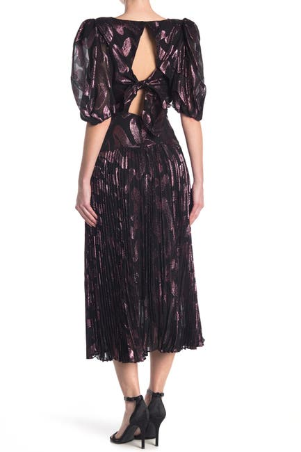 Image of Rebecca Taylor Puff Sleeve Pleated Silk Blend Midi Dress