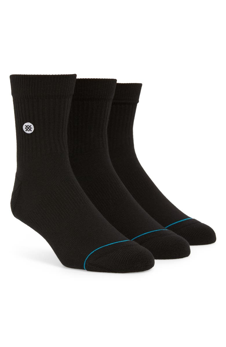 STANCE Icon 3-Pack Quarter Socks, Main, color, BLACK