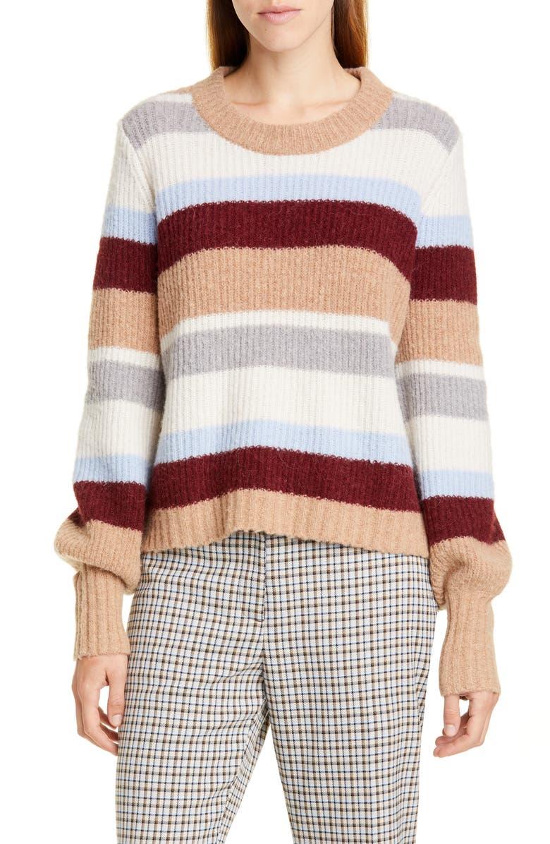 BAUM UND PFERDGARTEN Stripe Sweater, Main, color, AUTUMN STRIPE