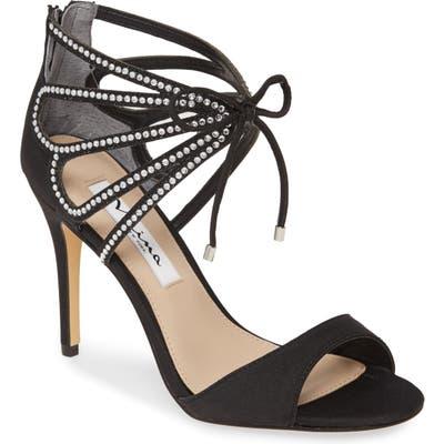 Nina Coree Crystal Embellished Cutout Sandal, Black