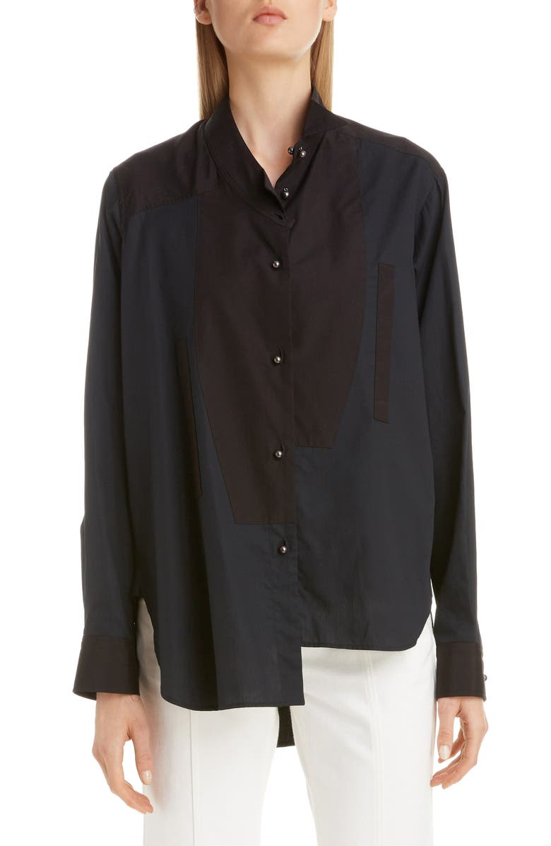 LOEWE Imitation Pearl Button Asymmetrical Shirt, Main, color, BLACK