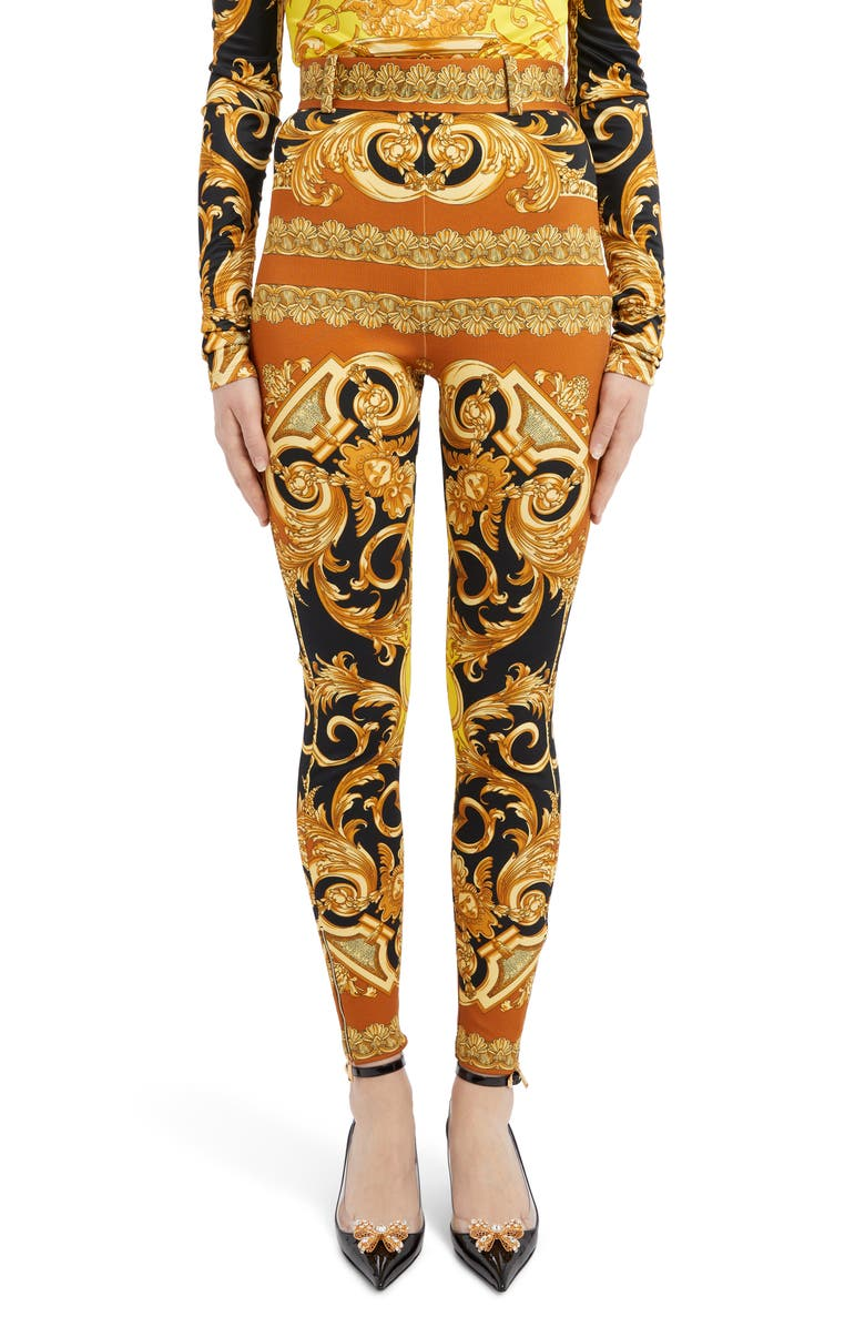 VERSACE Barco Print Zip Hem Belted Pants, Main, color, 700