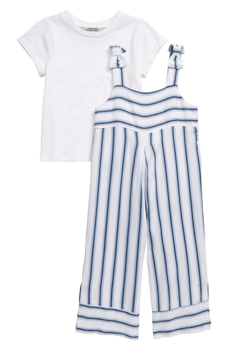 HABITUAL GIRL Habitual Shirt & Stripe Jumpsuit Set, Main, color, 400