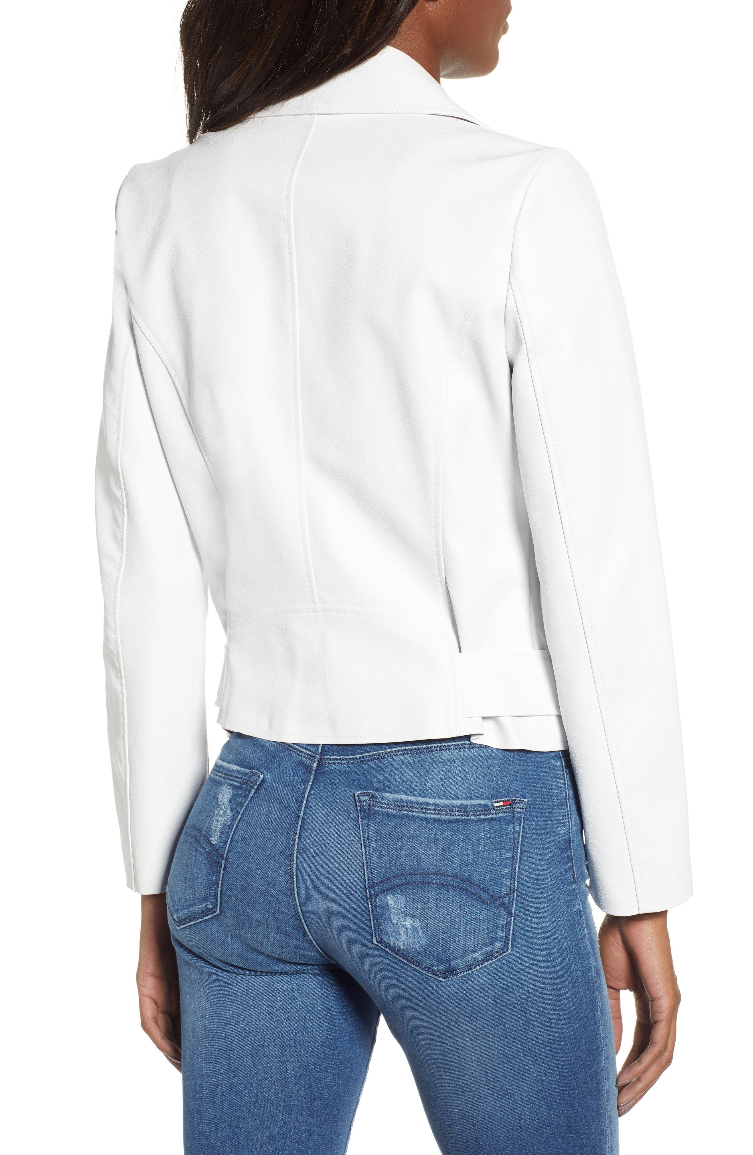,                             Guest List Faux Leather Moto Jacket,                             Alternate thumbnail 2, color,                             OPTIC WHITE