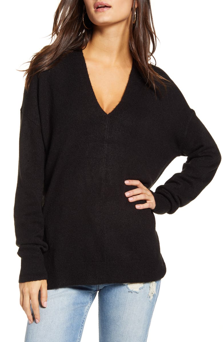 LEITH Cozy V-Neck Sweater, Main, color, BLACK