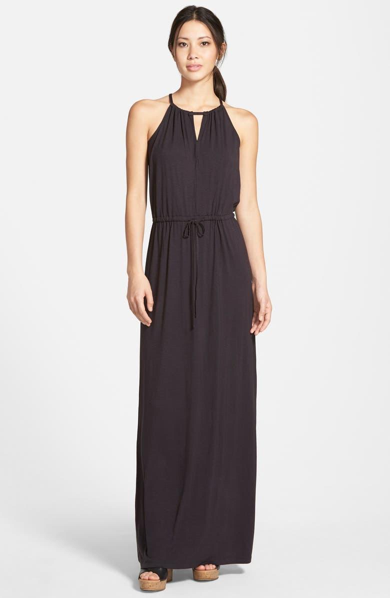 CASLON<SUP>®</SUP> Keyhole Halter Style Maxi Dress, Main, color, 001