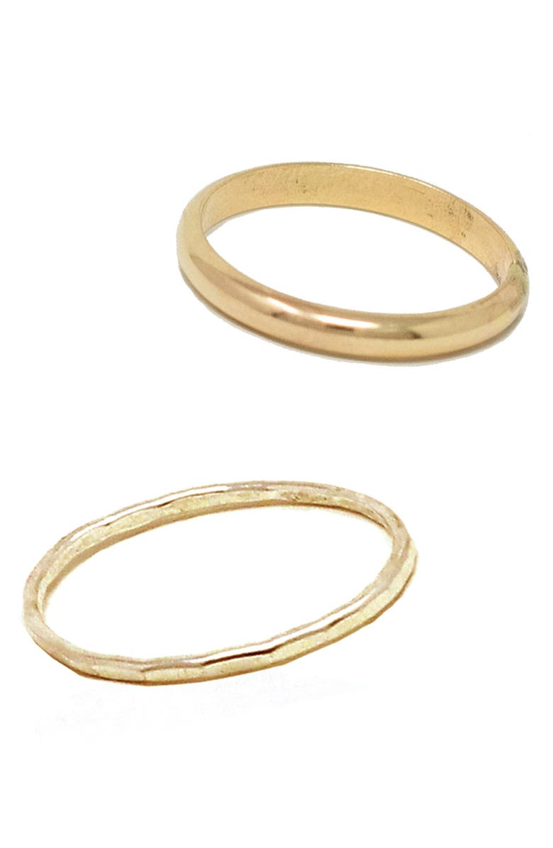 ABLE Set of 2 Dome Band & Hammered Band Stacking Ring, Main, color, GOLD