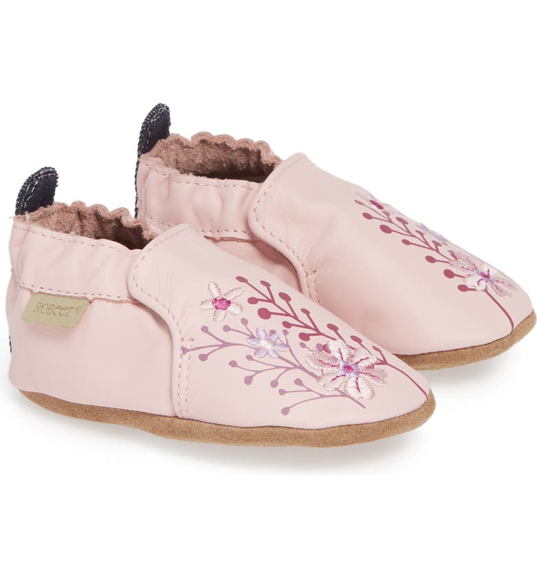 ROBEEZ<SUP>®</SUP> Blooming Floral Crib Shoe, Main, color, LIGHT PINK