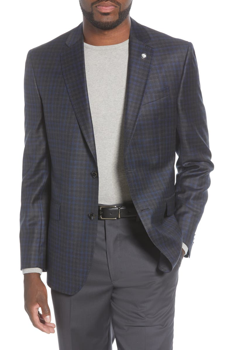 TED BAKER LONDON Jay Trim Fit Plaid Wool Sport Coat, Main, color, CHARCOAL