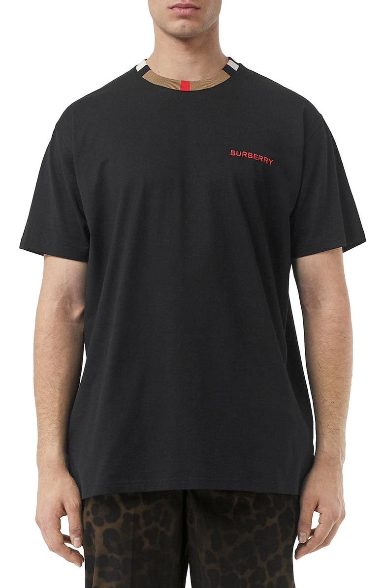 BURBERRY Jayson Icon Stripe T-Shirt, Main, color, BLACK