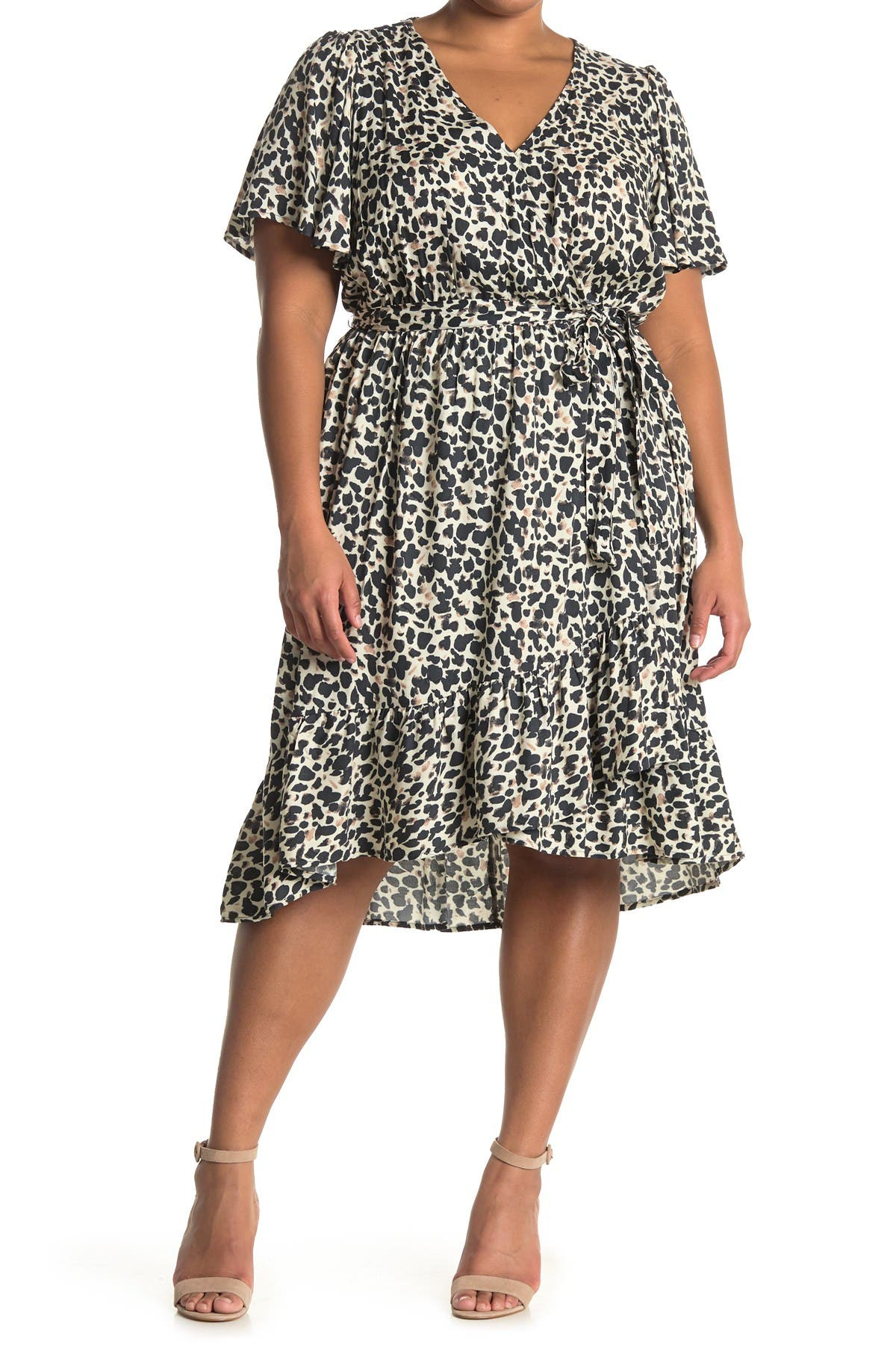 Image of 14TH PLACE Ruffled Wrap Dress