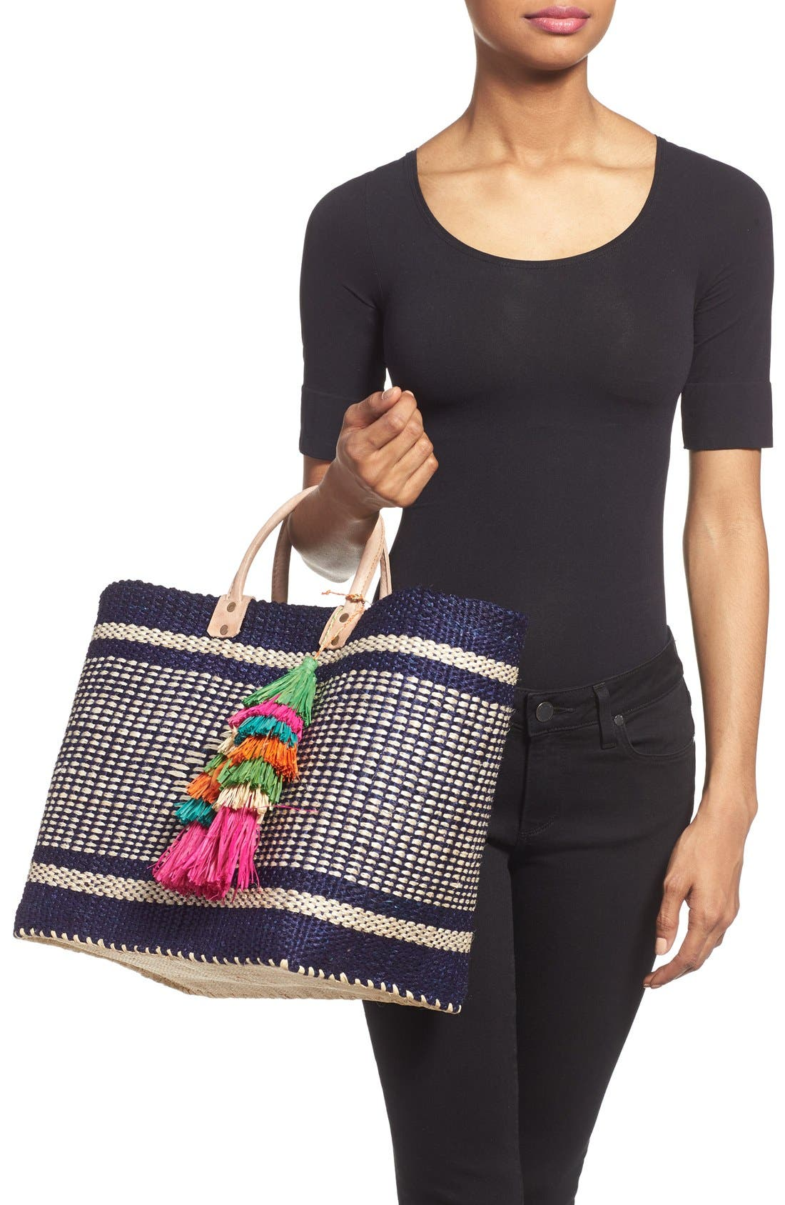 ,                             'Ibiza' Woven Tote with Tassel Charms,                             Alternate thumbnail 9, color,                             400