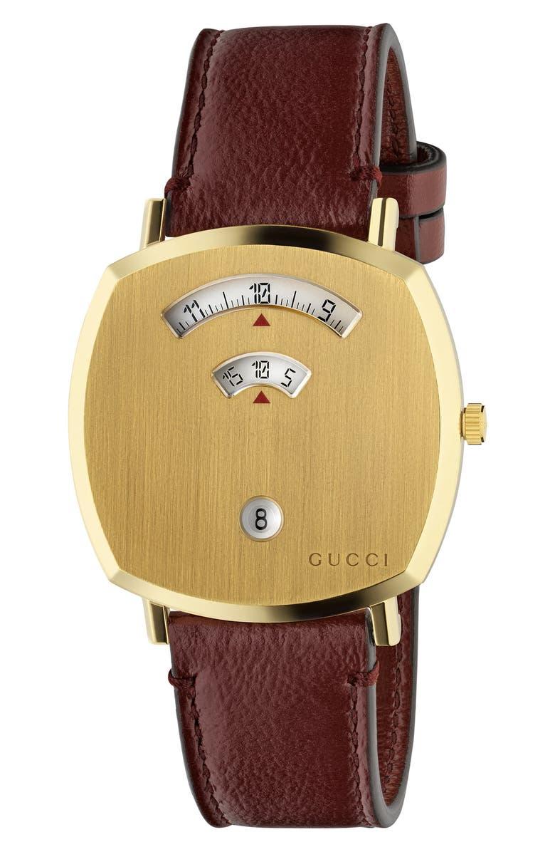 GUCCI Grip Leather Strap Watch, 38mm, Main, color, BORDEAUX/ GOLD