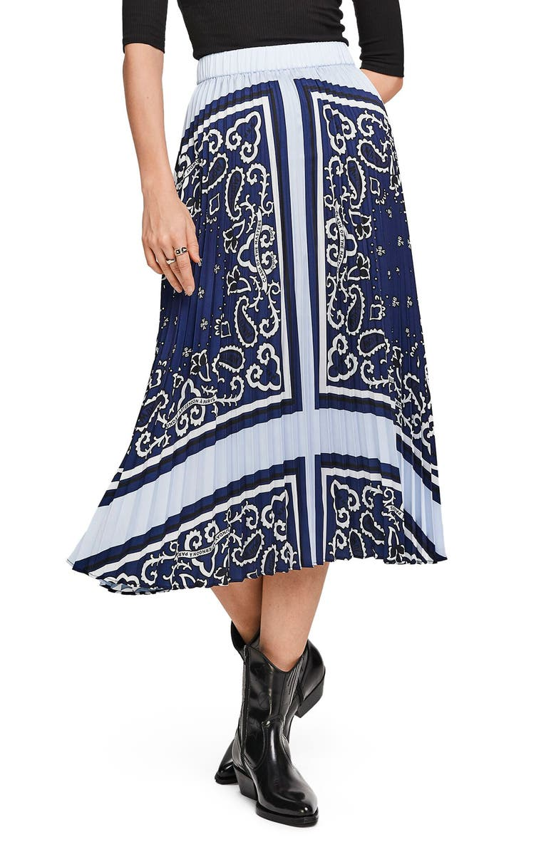 SCOTCH & SODA Bandana Print Pleated Satin Midi Skirt, Main, color, COMBO A