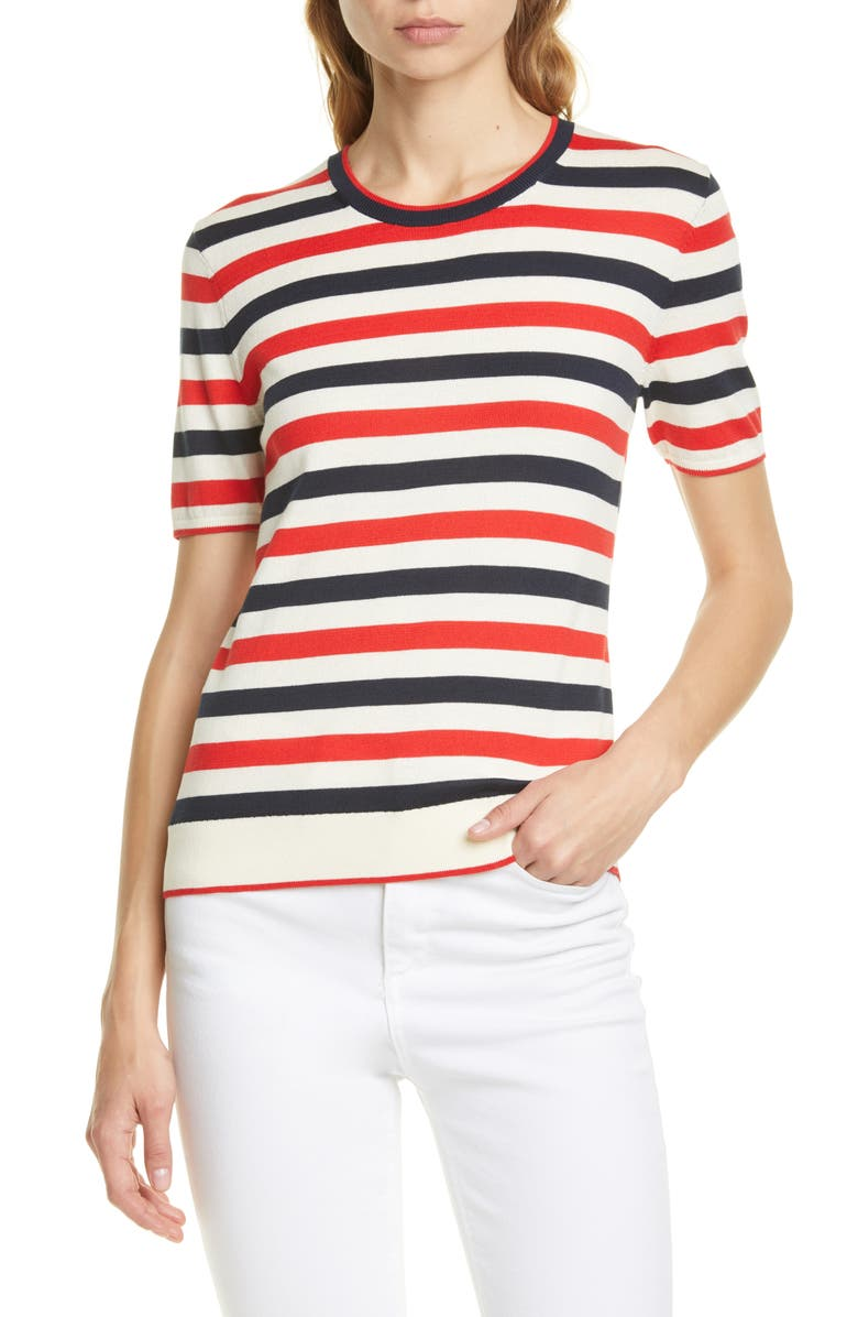 LA LIGNE Fitted Stripe Cotton Sweater Tee, Main, color, CREAM/ NAVY/ RED
