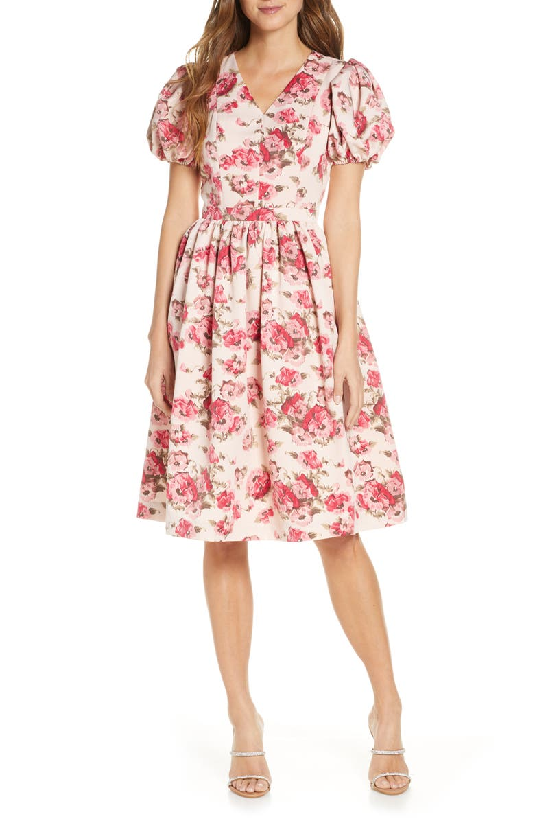 RACHEL PARCELL Fit & Flare Dress, Main, color, PINK SMOKE FLORAL