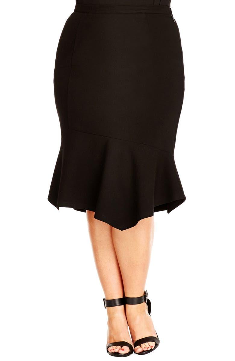 CITY CHIC Flounce Hem Skirt, Main, color, 001