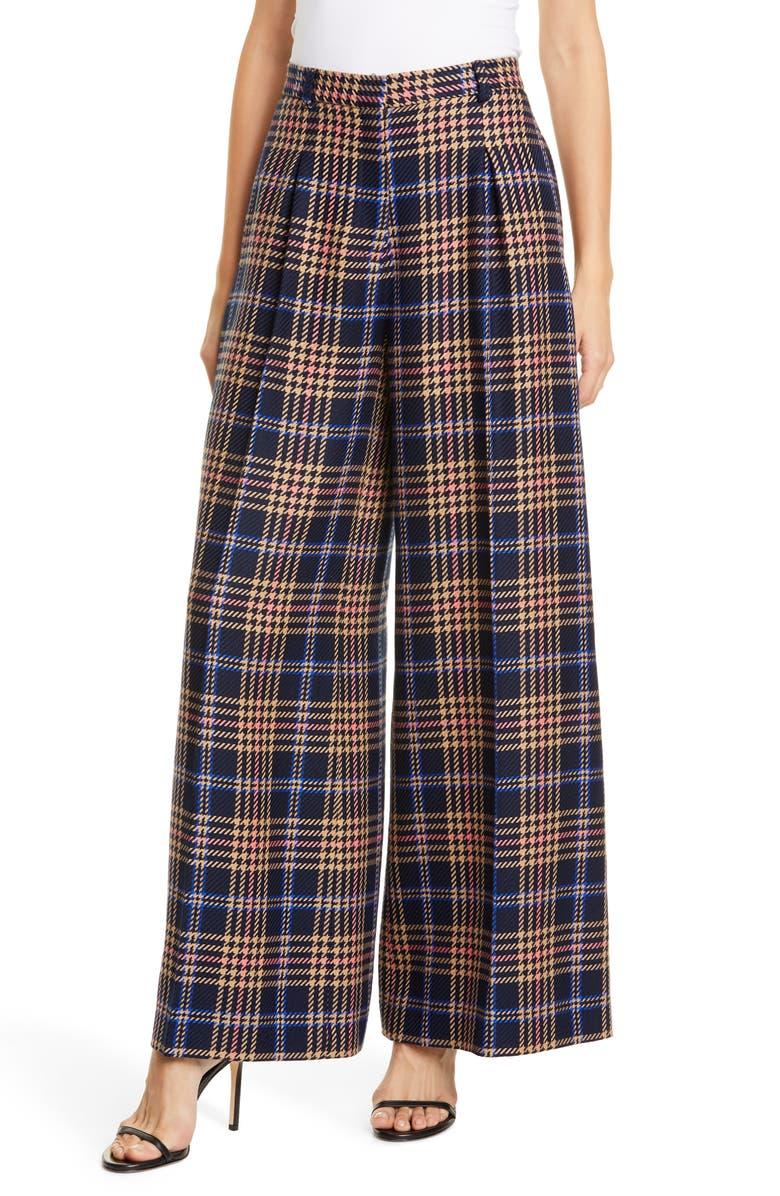 RODEBJER Gizella Check Wide Leg Pants, Main, color, DARK NAVY