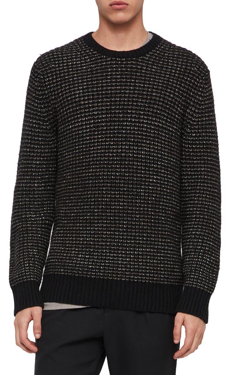 ALLSAINTS Larkk Wool Blend Crewneck Sweater, Main, color, BLACK/ KHAKI BROWN