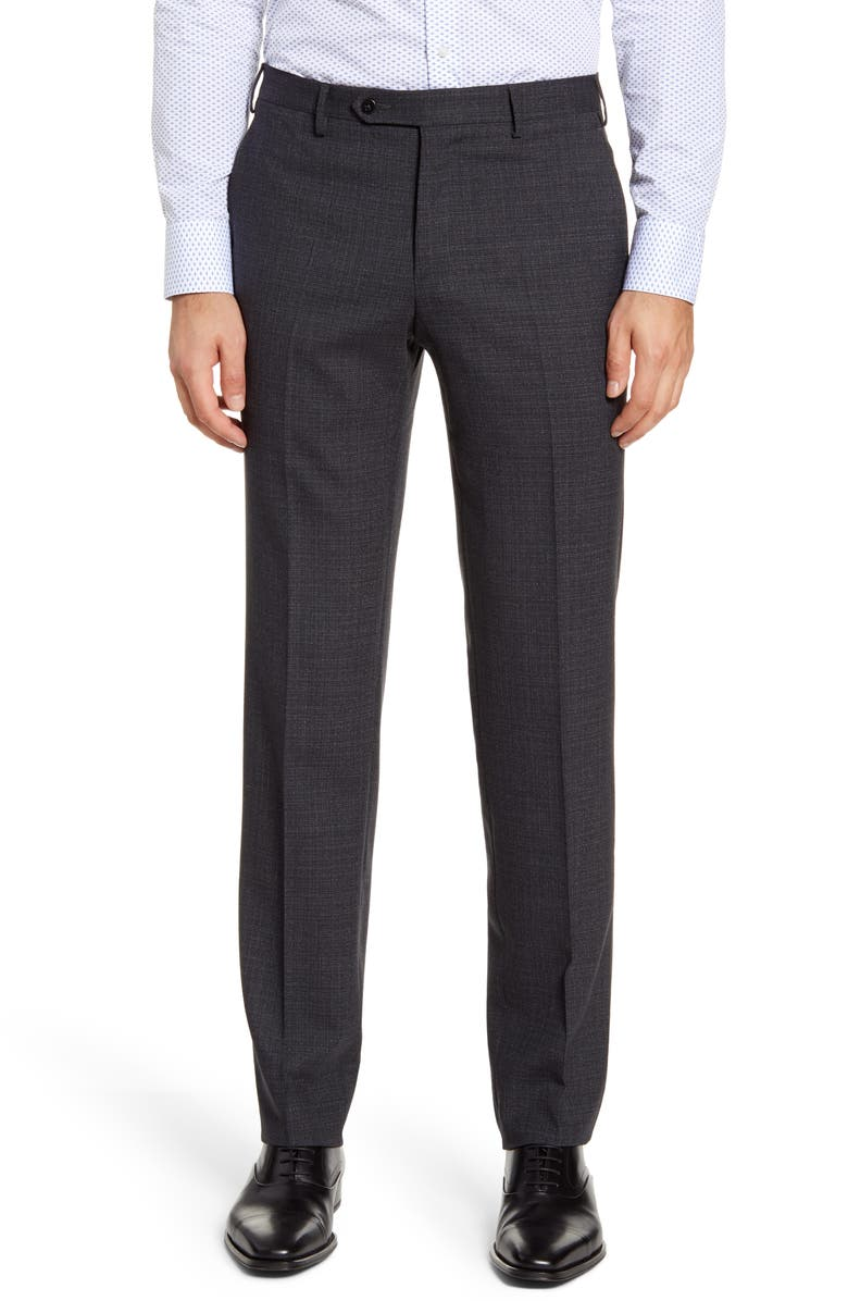 ZANELLA Curtis Flat Front Stretch Wool Dress Pants, Main, color, CHARCOAL