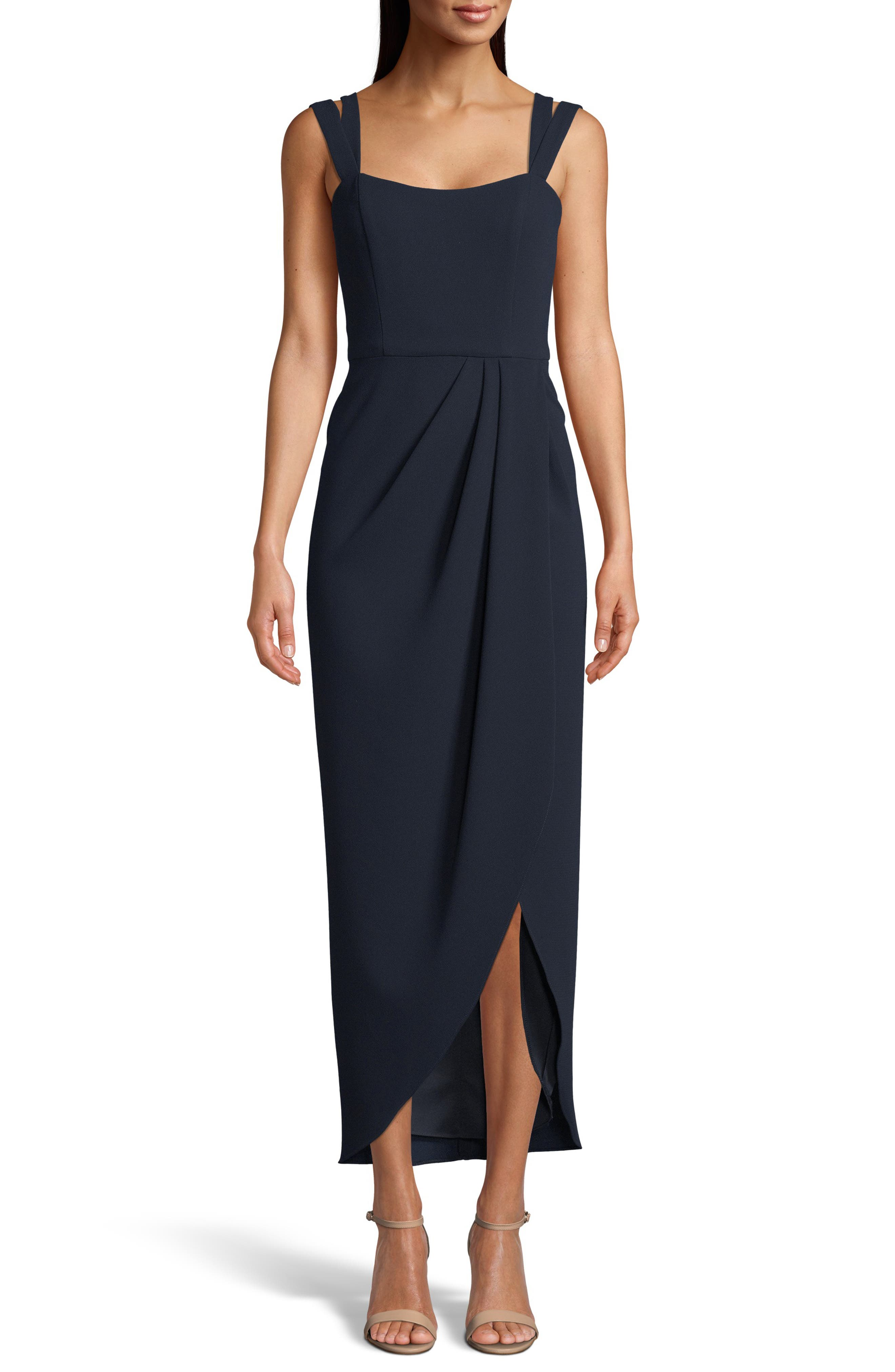 Xscape Side Ruched Double Strap Crepe Gown, Blue