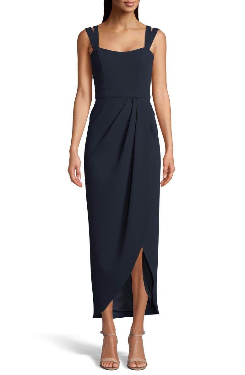 XSCAPE Side Ruched Double Strap Crepe Gown, Main, color, 410