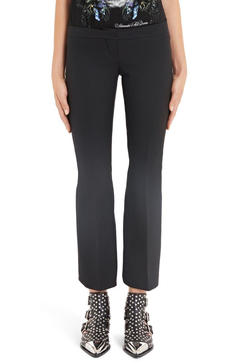ALEXANDER MCQUEEN Pleated Crop Flare Pants, Main, color, 001