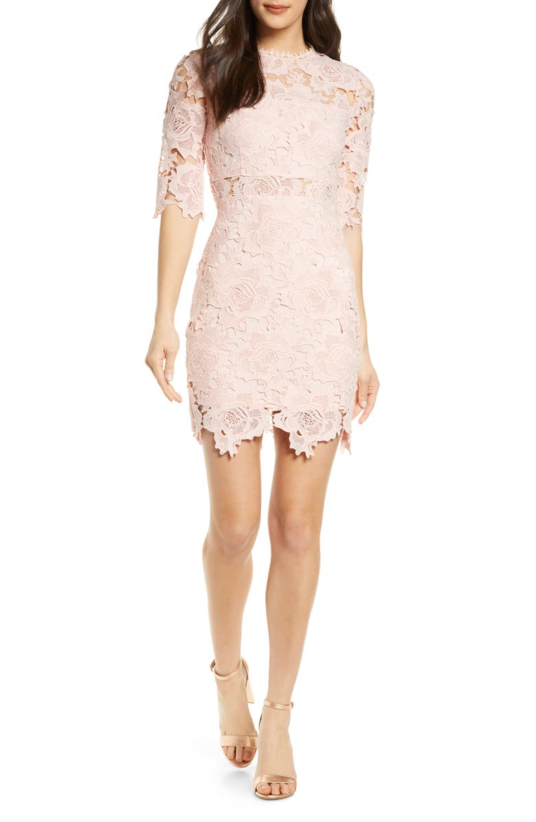 LULUS A Fine Romance Lace Cocktail Dress, Main, color, BLUSH PINK