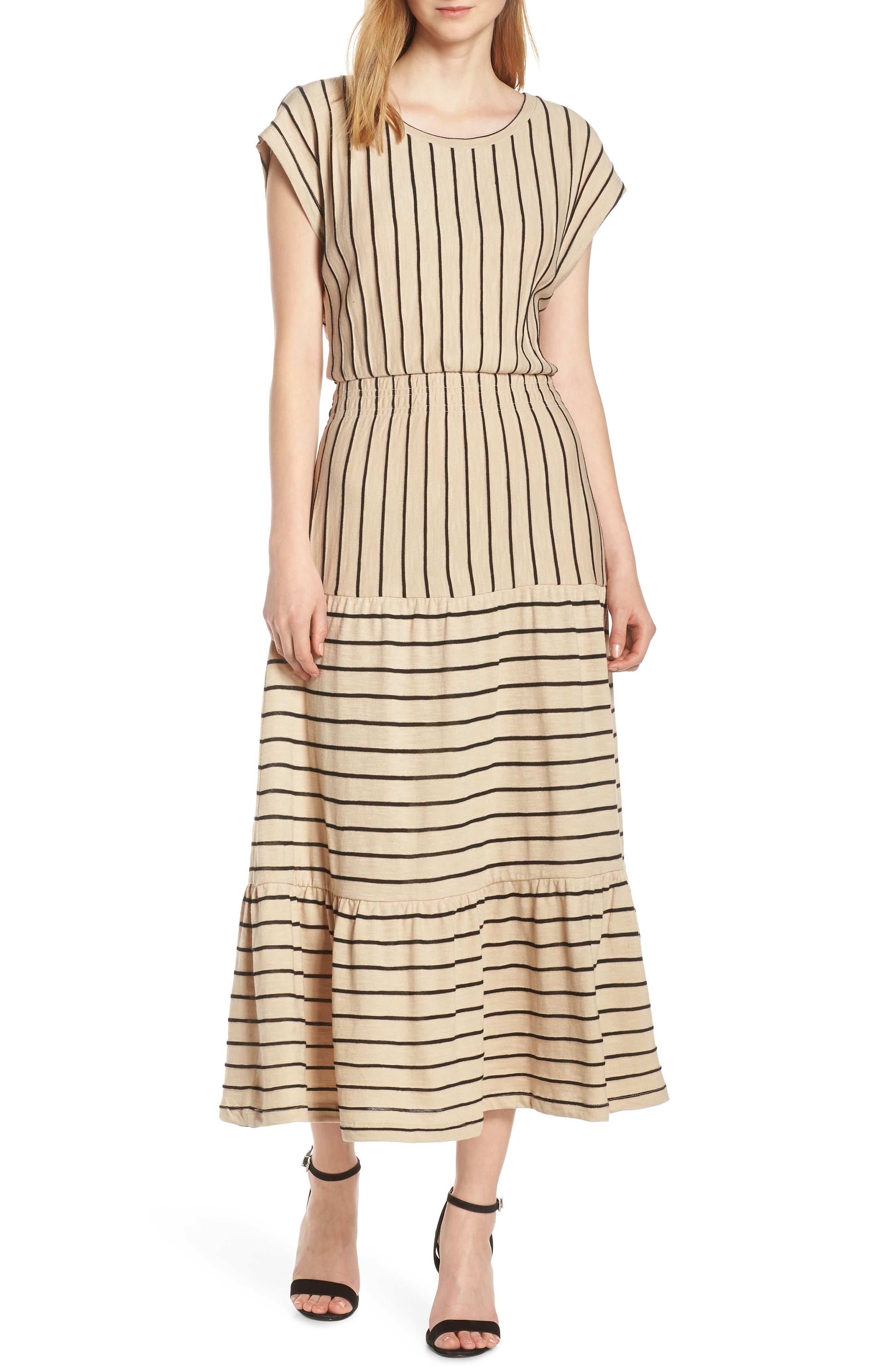 Caara Wesley Stripe Tiered Cotton Knit Dress, Beige