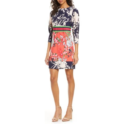 Petite Vince Camuto Mixed Floral Shift Dress, Pink