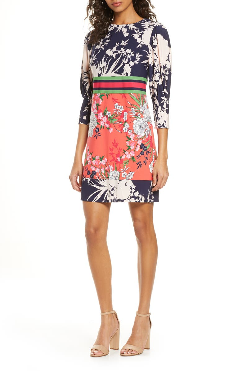 VINCE CAMUTO Mixed Floral Shift Dress, Main, color, 653