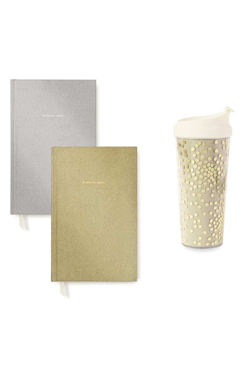 KATE SPADE NEW YORK glitter notebooks & thermal tumbler, Main, color, 710