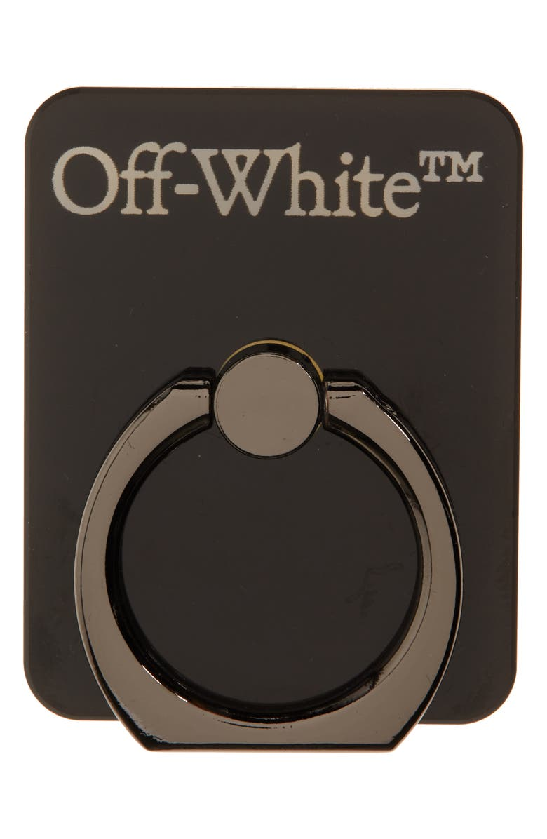 OFF-WHITE Logo Smartphone Ring Stand, Main, color, BLACK WHITE