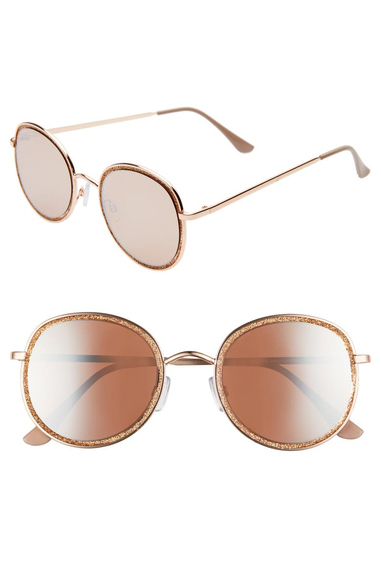 BP. 56mm Glitter Mirrored Round Sunglasses, Main, color, ROSE GOLD