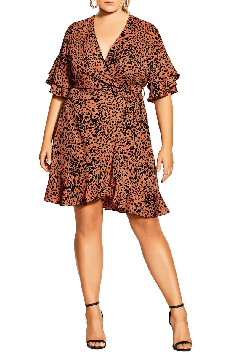 CITY CHIC Animal Print Flutter Sleeve Faux Wrap Dress, Main, color, 800