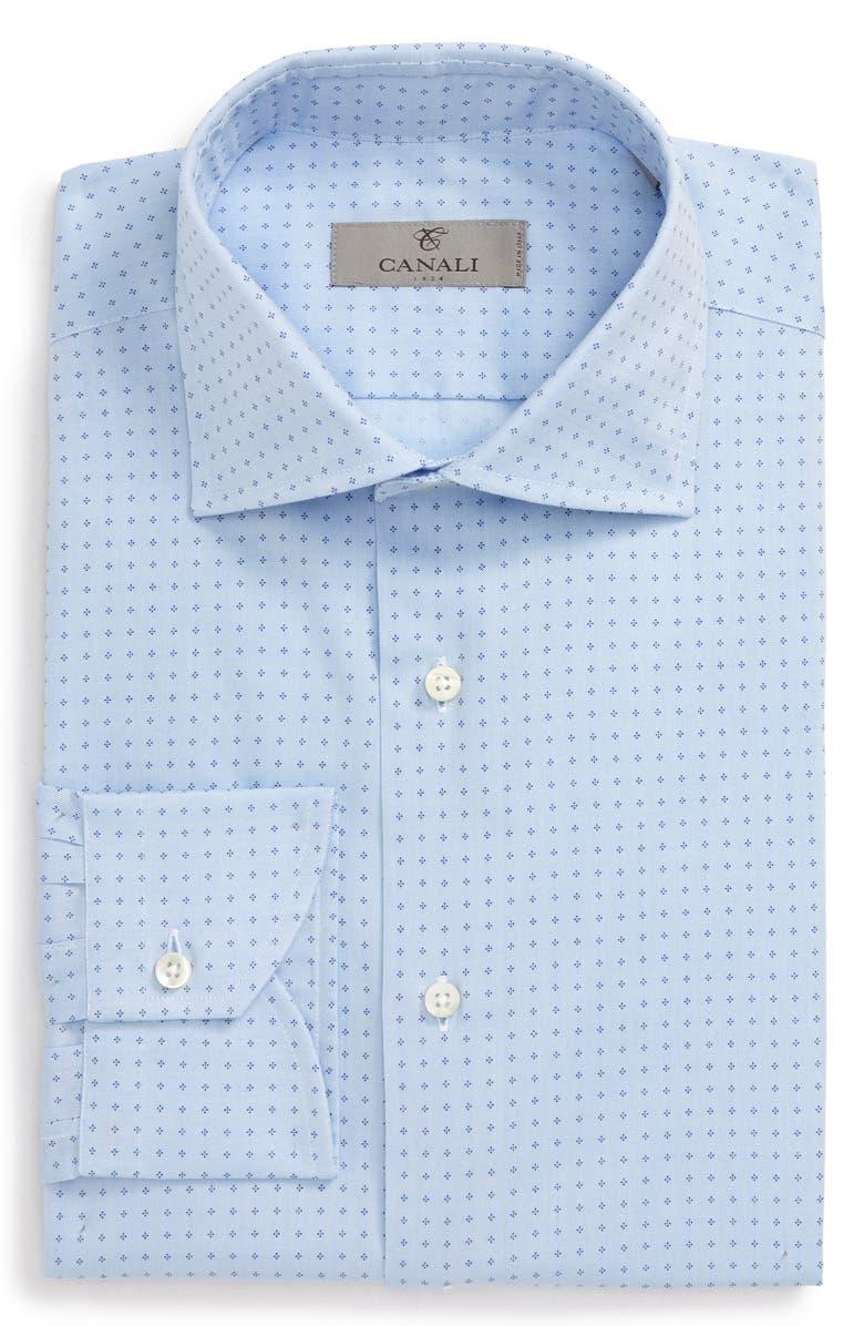 CANALI Slim Fit Geometric Dress Shirt, Main, color, BLUE