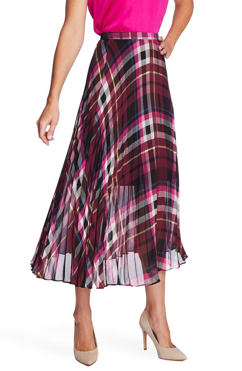 VINCE CAMUTO Pleated Plaid Midi Skirt, Main, color, MERLOT