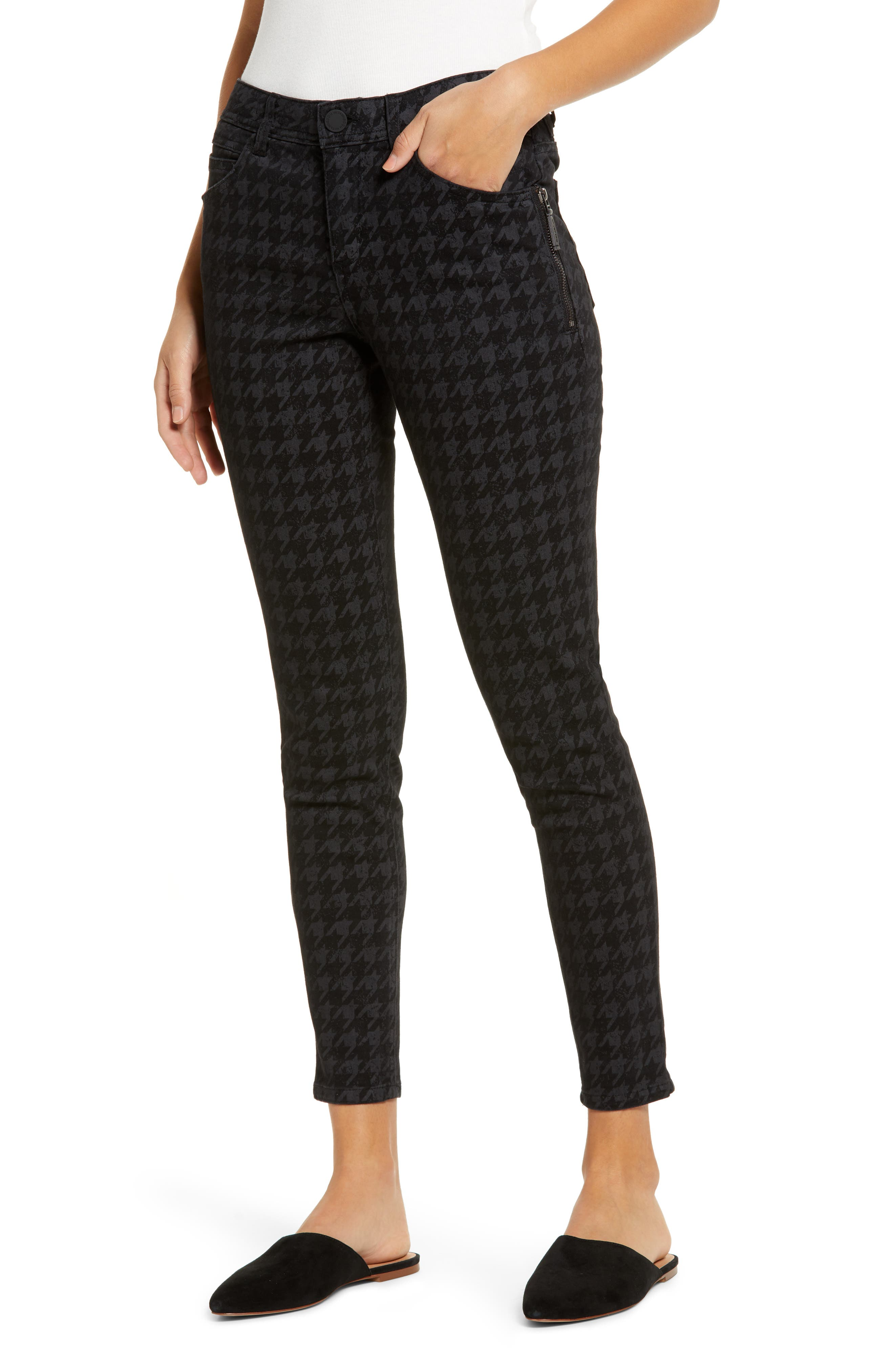 Ultra-comfy skinny jeans with a houndstooth pattern and zipper accents feature Ab-solution power-mesh panels and a waistband with booty-lift construction. Style Name: Wit & Wisdom Ab-Solution Side Zip Crop Skinny Jeans (Regular & Petite) (Nordstrom Exclusive). Style Number: 6053267. Available in stores.