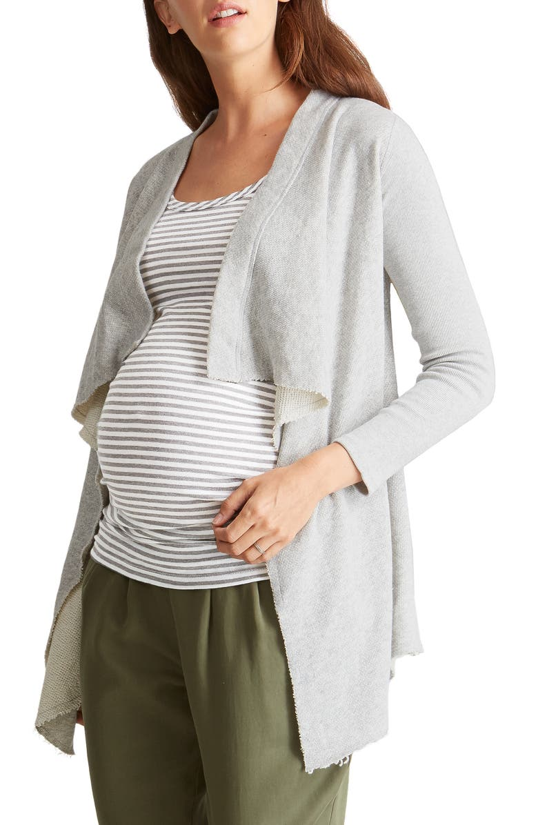 INGRID & ISABEL<SUP>®</SUP> Drape Front Maternity Cardigan, Main, color, LIGHT HEATHER GREY
