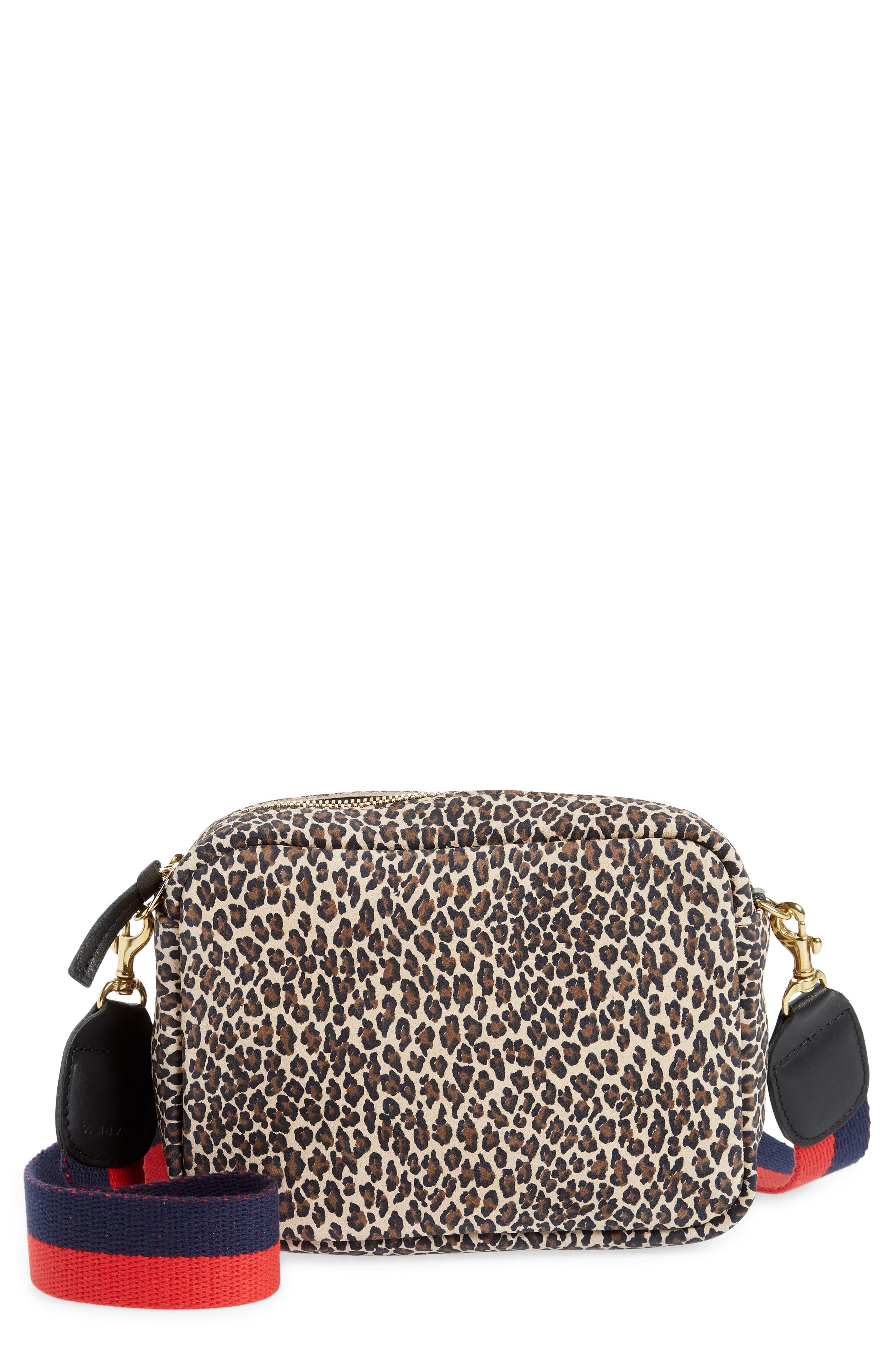 Midi Sac Leopard Print Leather Crossbody Bag