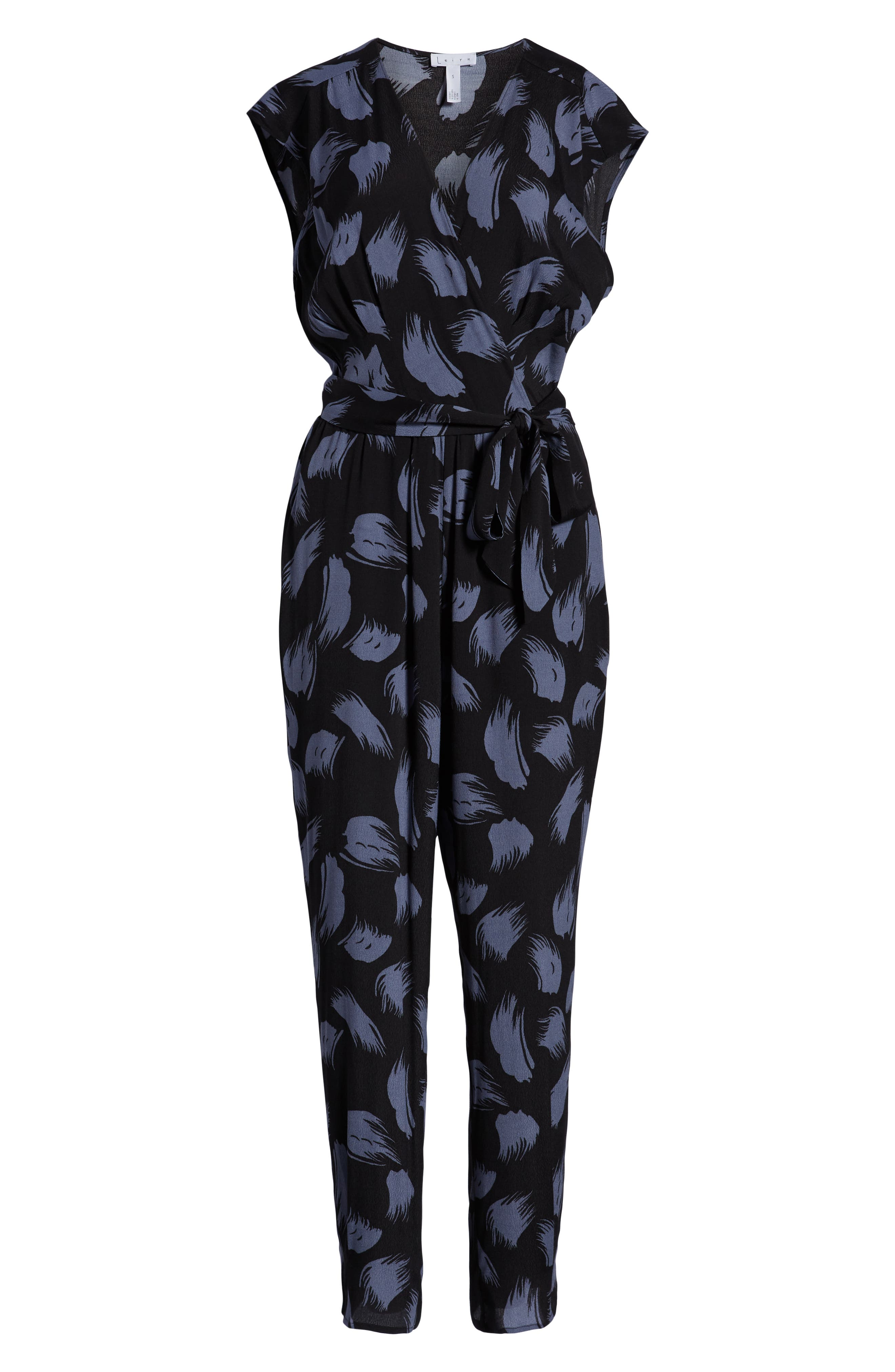 ,                             Tie Waist Print Jumpsuit,                             Alternate thumbnail 9, color,                             001
