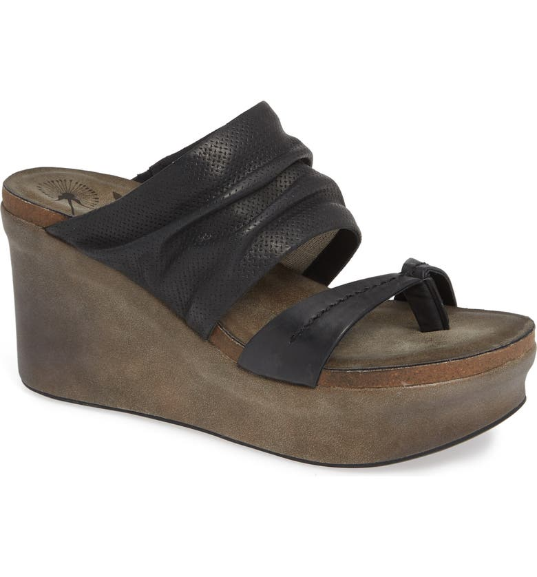 OTBT Tailgate Platform Wedge Mule, Main, color, BLACK PERF LEATHER