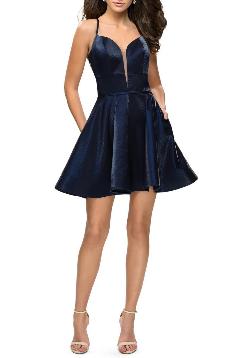LA FEMME Satin Fit & Flare Cocktail Dress, Main, color, NAVY