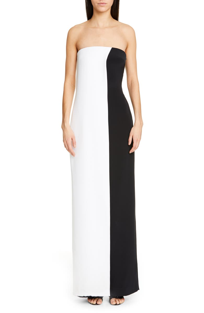 CUSHNIE Colorblock Strapless Wide Leg Silk Jumpsuit, Main, color, WHITE/ BLACK