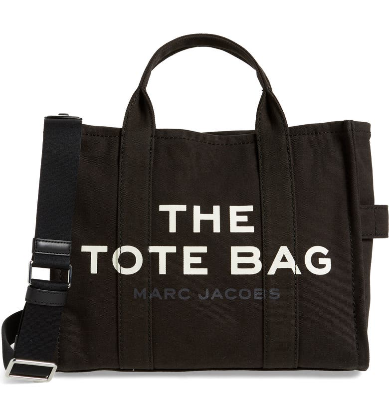 THE MARC JACOBS Small Traveler Canvas Tote, Main, color, BLACK