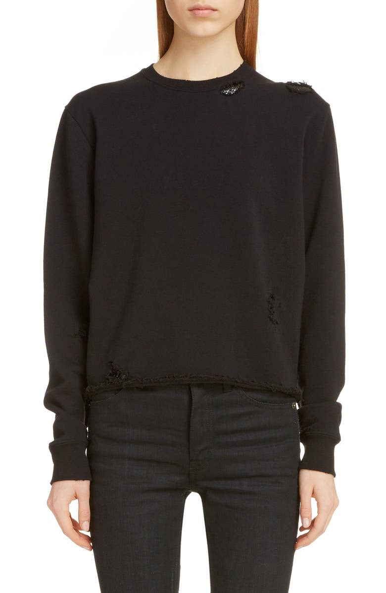 SAINT LAURENT Destroyed Chainmail Sweatshirt, Main, color, NOIR/NOIR BRILLANT