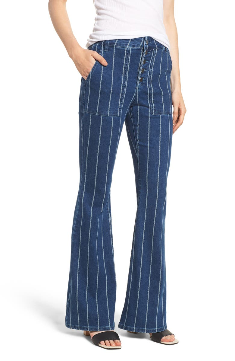 TINSEL Stripe High Waist Flare Jeans, Main, color, MEDIUM WASH