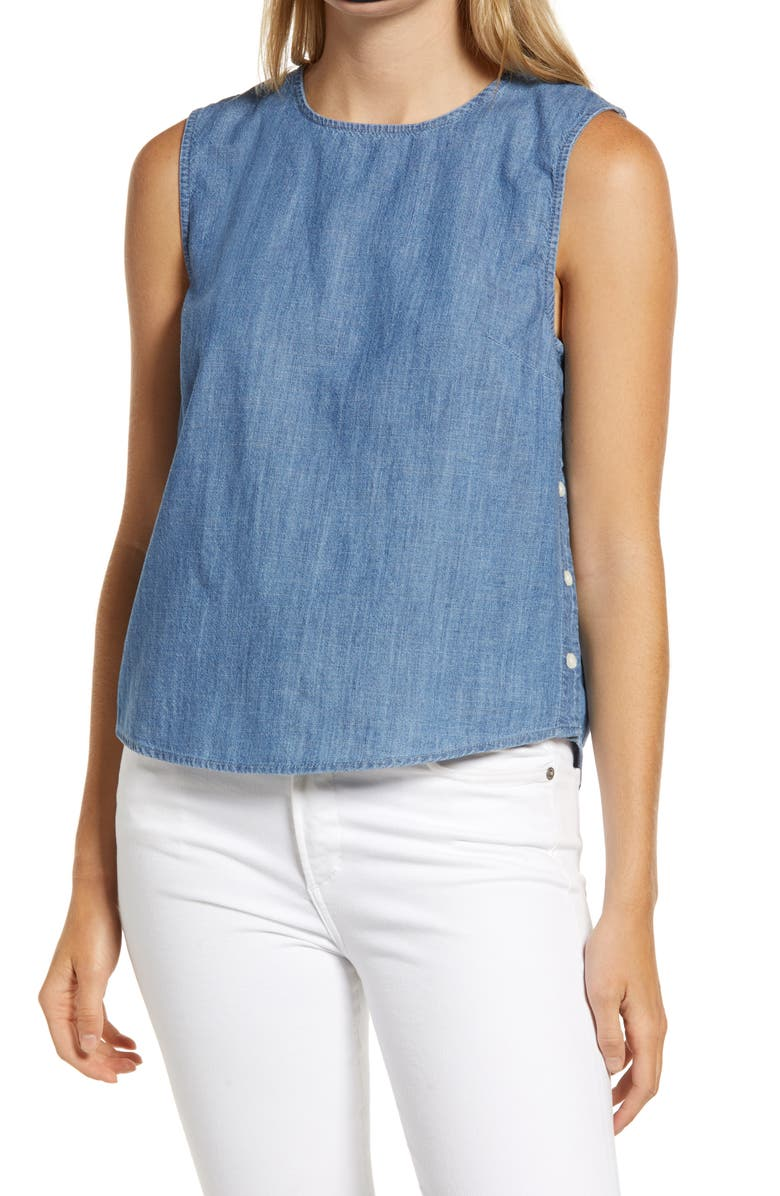 1901 Side Button Sleeveless Chambray Top, Main, color, CHAMBRAY