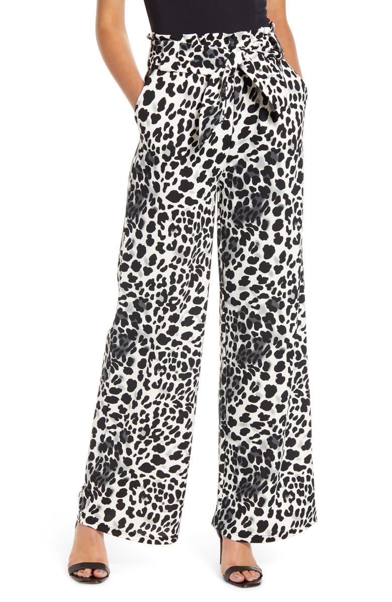 SENTIMENTAL NY Belted Paperbag Waist Pants, Main, color, BLACK/WHITE CHEETAH